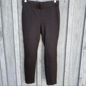 Stretchy work pants, fun pattern, black and brown